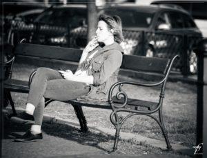 millennial girl bench